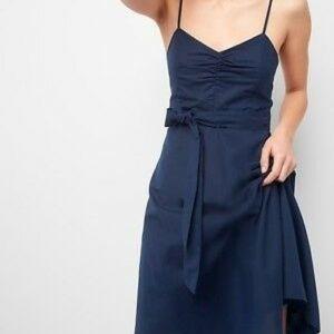 Gap | Linen Cami Midi Tie Waist Navy Blue Dress 4